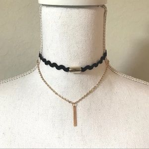 Jewelry - Black and Golden Double Layered Choker Necklace